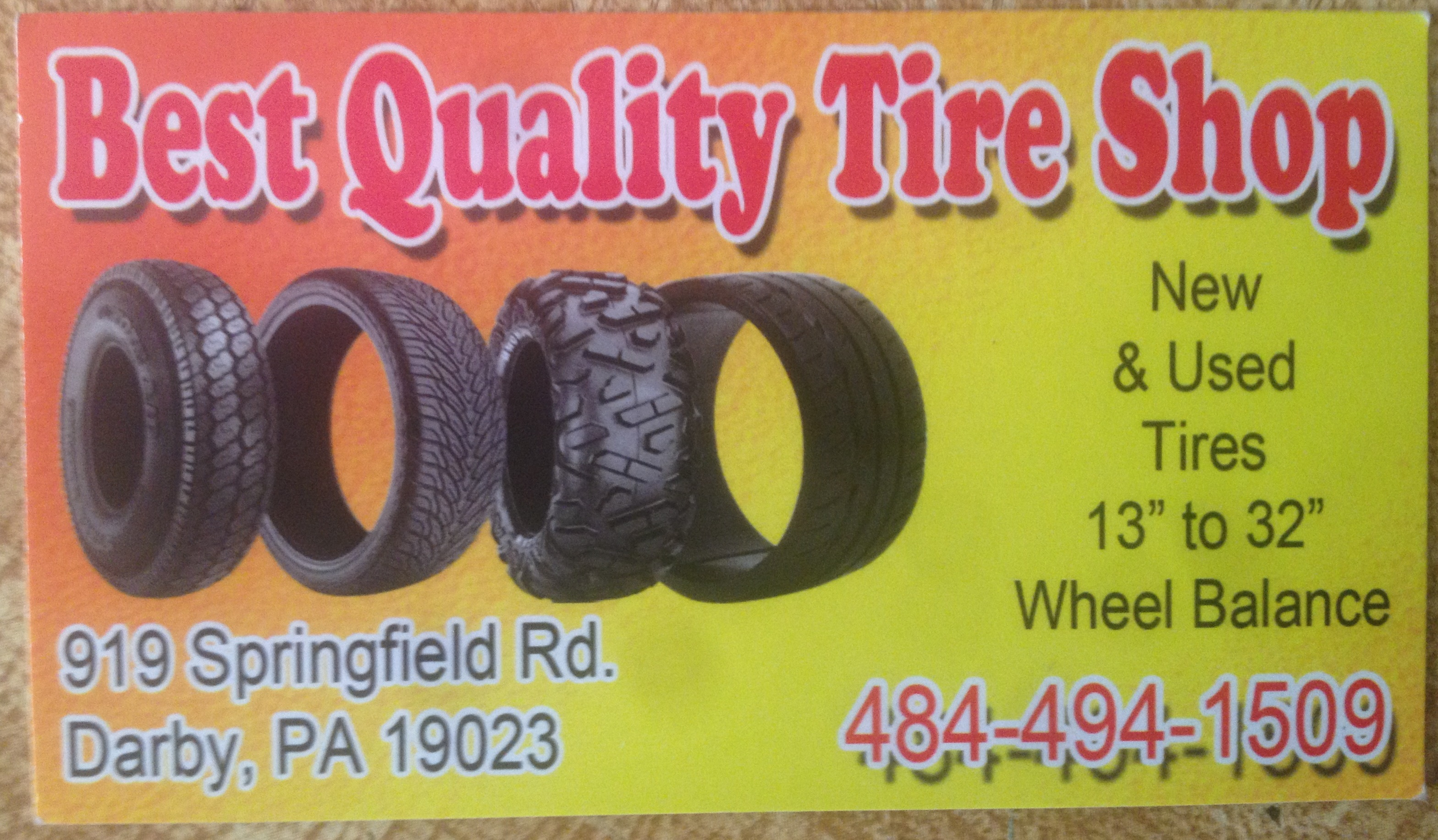 About us best quality tire shop for Tire shop business cards